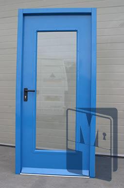 металлические остеклённые полуторные двери распашные
